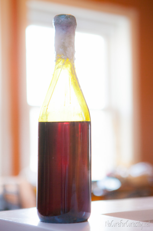 A bottle of homemade mulberry wine.